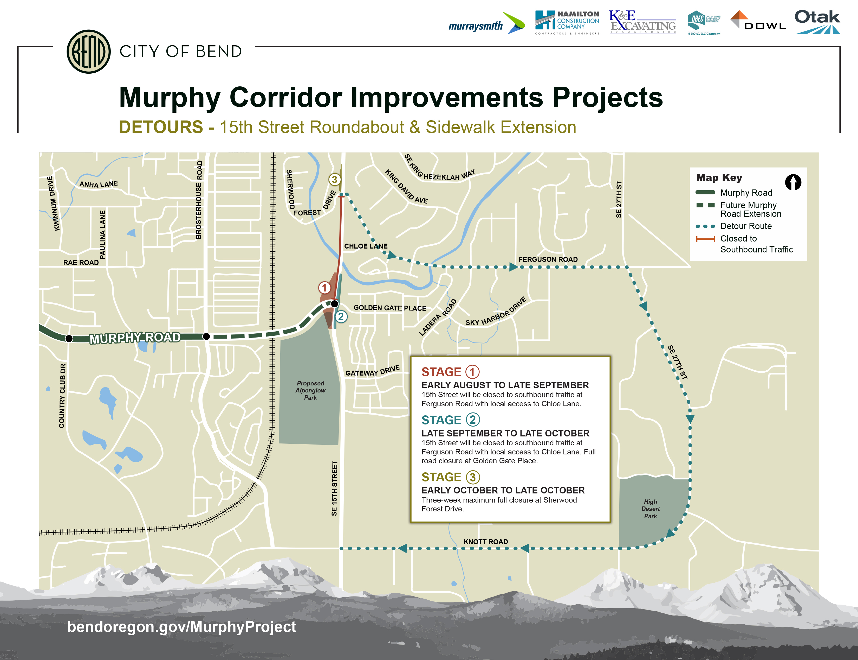 Partial Road Closures for 15th Street & Murphy