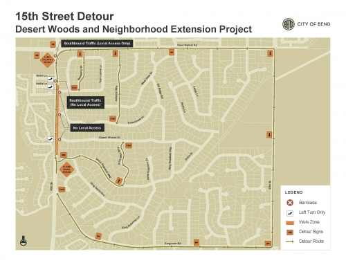 Temporary Detours on 15th Street Starting June 10